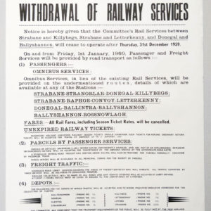 Withdrawal of Railway Services, Donegal Railways